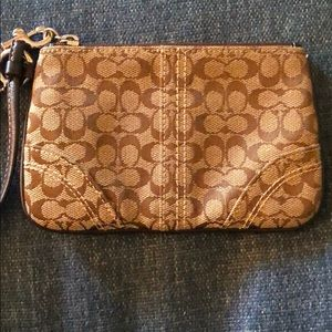 Coach Wristlet -- Brown Leather + classic CC print